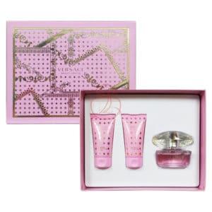 Versace香戀水晶女性淡香水禮盒(淡香水50ml+沐浴膠50ml+身體乳50ml)